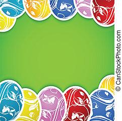 conjunto, colorido, huevos, plano de fondo, florido, pascua