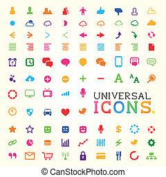conjunto, colorido, icono
