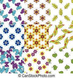 conjunto, colorido, patrones florales
