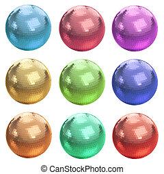 Conjunto, colorido, pelotas,  disco