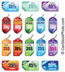 conjunto, colorido, precio, etiquetas, ventas, promocional,...