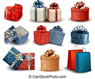 conjunto, colorido, regalo, arcos, ilustración, cajas,...