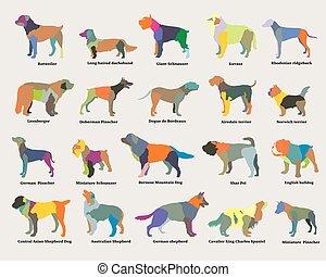 Conjunto, colorido, Siluetas,  vector, Perros, mosaico