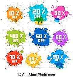 conjunto, colorido, venta, descuento, vector, salpicaduras,...