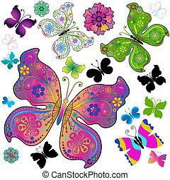 conjunto, colorido, y, negro, mariposas