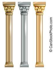 conjunto, columnas, metálico