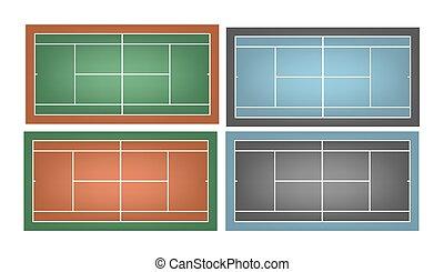conjunto, combinated, canchasde tenis