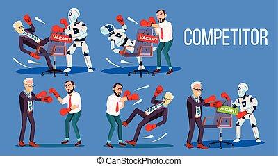 conjunto, competidor, trabajo, vacante, vector, posición