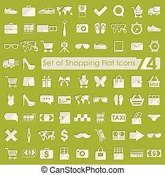 conjunto, compras, iconos