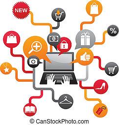 conjunto, compras, iconos del internet
