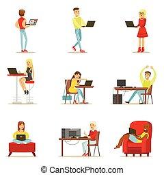 conjunto, computadora, gente, gasto, moderno, su, vector,...