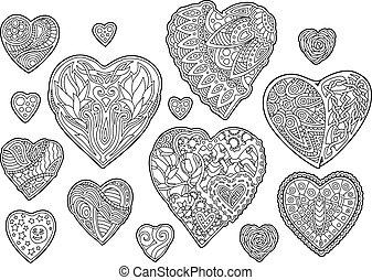 conjunto, con, aislado, decorativo, monocromo, corazones