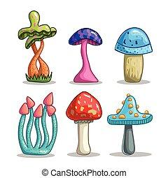 conjunto, con, caricatura, fantasía, hongos