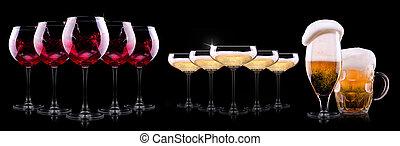 conjunto, con, diferente, bebidas