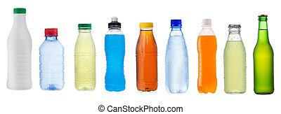 conjunto, con, diferente, botellas