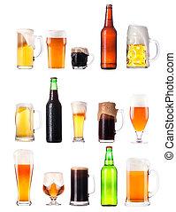 conjunto, con, diferente, cerveza, blanco, plano de fondo
