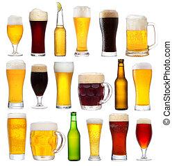 conjunto, con, diferente, cerveza