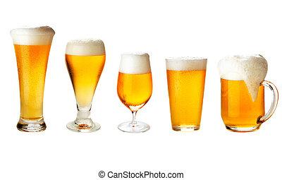 conjunto, con, diferente, copas de cerveza, blanco, -, excelente, calidad