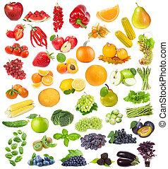 conjunto, con, fruits, bayas, y, hierbas
