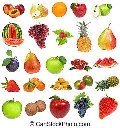conjunto, con, fruits, y, bayas