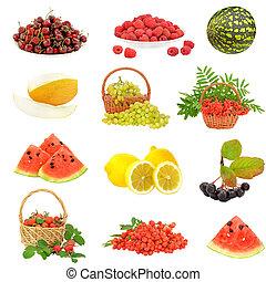 conjunto, con, fruta, y, bayas