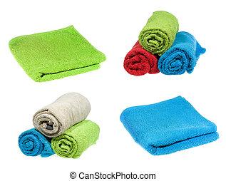 conjunto, con, toallas