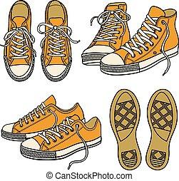 conjunto, con, zapatillas, aislado, blanco
