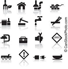 conjunto construcción, diy, icono