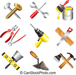 conjunto construcción, herramientas, iconos