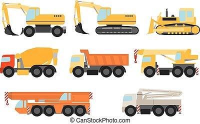 conjunto construcción, vehículos
