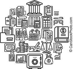 conjunto, contabilidad, estilo, contorno, icono