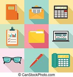 conjunto, contabilidad, estilo, icono, plano