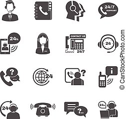 conjunto, contacto, apoyo, centro, llamada, iconos