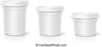 conjunto, contenedor, hielo, yogur, vector, postre, blanco, crema, blanco
