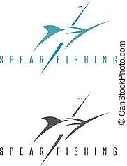 conjunto, contorno, ilustración, marlin, vector, spearfishing