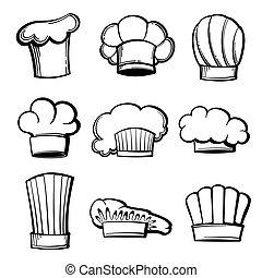 conjunto, contorno, sombreros, chef, vector, toques