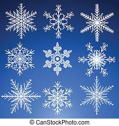conjunto, copos de nieve