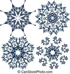 conjunto, copos de nieve, elemento, vector, diseño floral