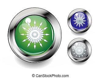 conjunto, copos de nieve, iconos, botón, metal, brillante
