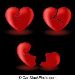 conjunto, corazones, roto