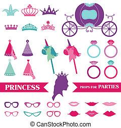 conjunto, corona, -, anillos, vector, photobooth, accesorios, fiesta, princesa, anteojos