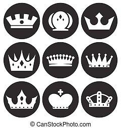 conjunto, corona, iconos