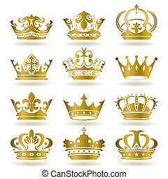 conjunto, corona, oro, iconos