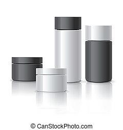 conjunto, cosmético, contenedores, blanco