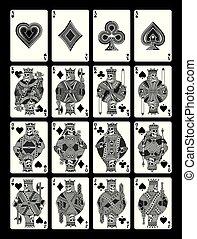 conjunto, cráneo, negro, tarjetas, blanco, juego