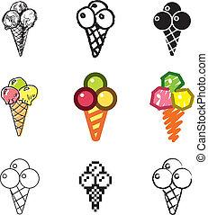 Conjunto, crema, hielo, iconos