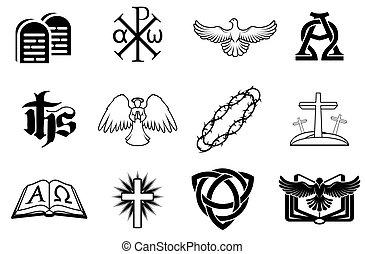 conjunto, cristiano, iconos