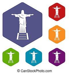 conjunto, cristo, iconos, redentor, estatua, hexágono