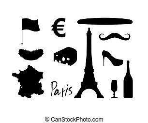 conjunto, croissant., map., vistas, señal, moda, molde,...