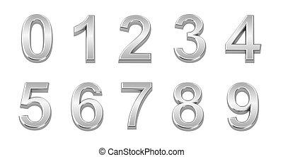 conjunto, cromo, 0, números, 9, 3d